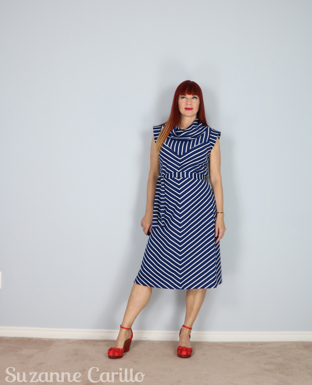 blue white vintage chevron striped dress suzanne carillo