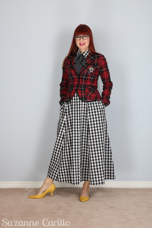 how to style gingham with plaid suzanne carillo style