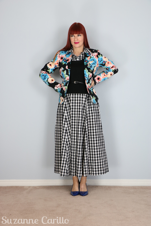 style a gingham dress with florals suzanne carillo style over 40