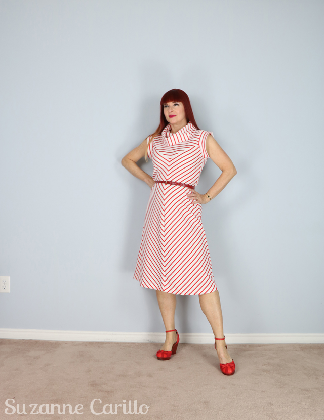 vintage 1970s red white striped dress for sale 640