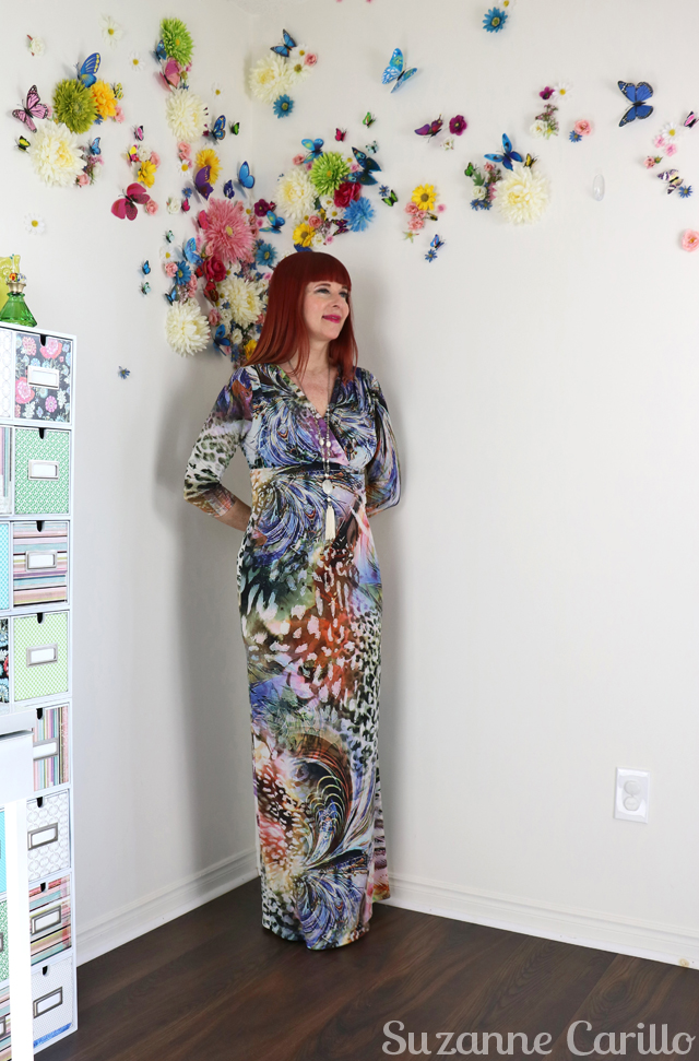 abstract maxi dress style over 50 suzanne carillo style