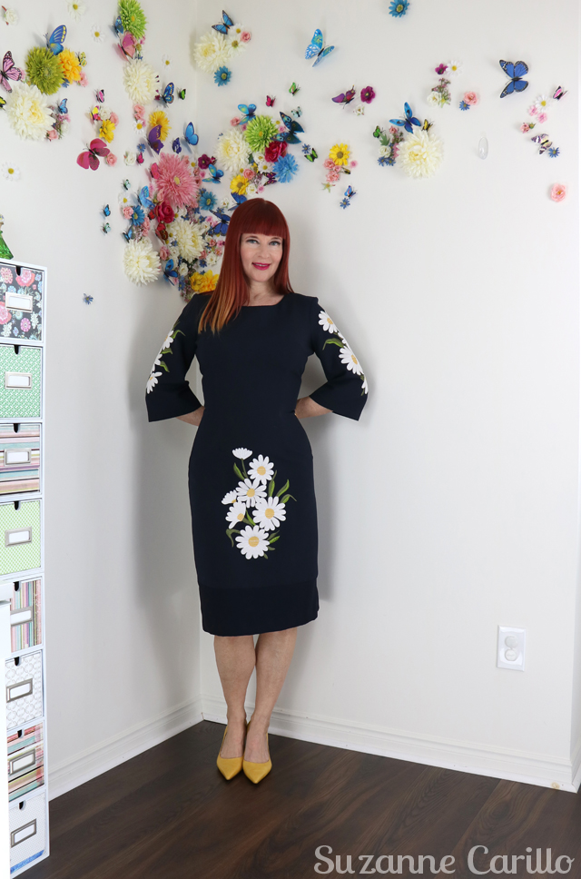 daisy embroidered body con dress for sale vintage by suzanne