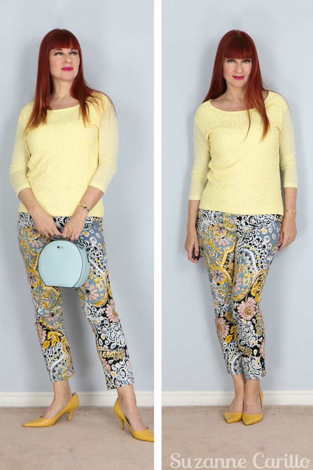 how to style groovy patterned pants over 50 suzanne carillo