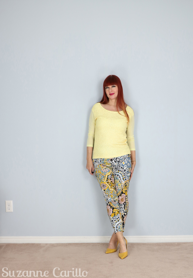 how to wear bold print trousers over 40 suzanne carillo style