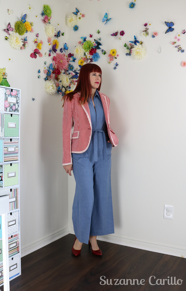 upcycled Zara blazer DIY with vintage jumpsuit