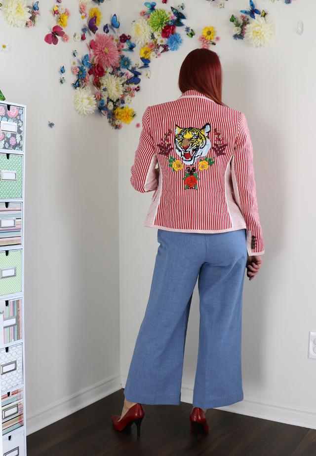 upcycled Zara Blazer DIY upcycled embroidered striped blazer suzanne carillo style