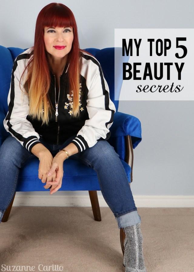 my top five beauty secrets suzanne carillo over 50 style blogger