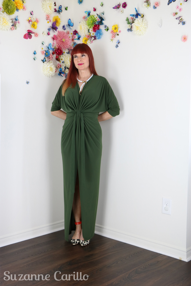 draped olive green maxi dress suzanne carillo
