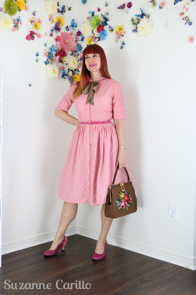 vintage 1950s pink gingham fit and flare dress for sale suzanne carillo