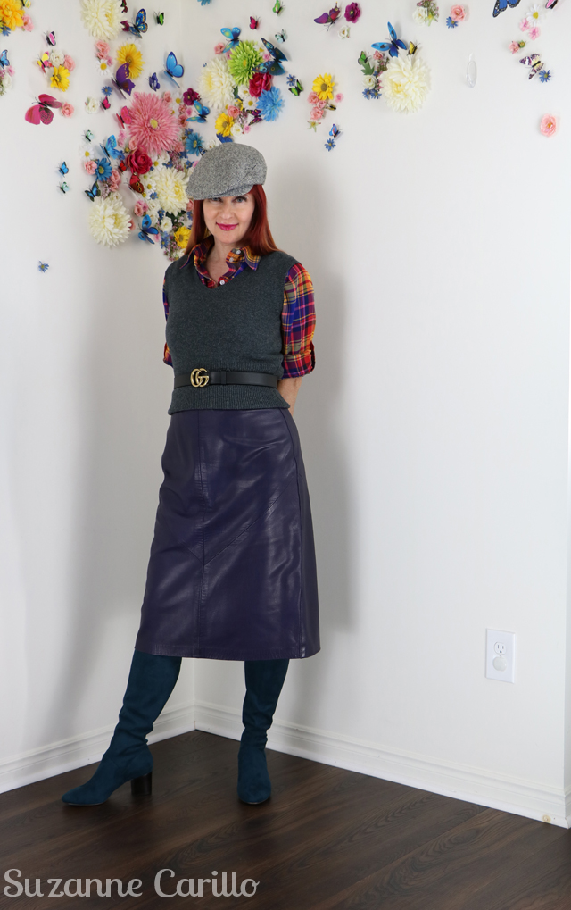over 40 style 80s leather skirt retro geek chic suzanne carillo