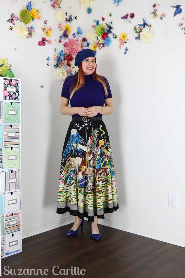novelty print statement skirt suzanne carillo style over 50