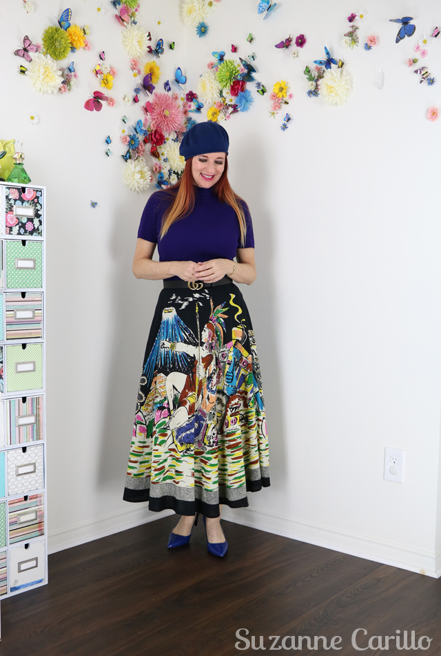 style a novelty print skirt over 40 suzanne carillo style
