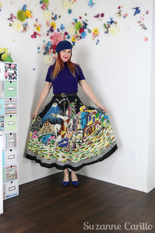 wear a novelty print skirt over 40 suzanne carillo style