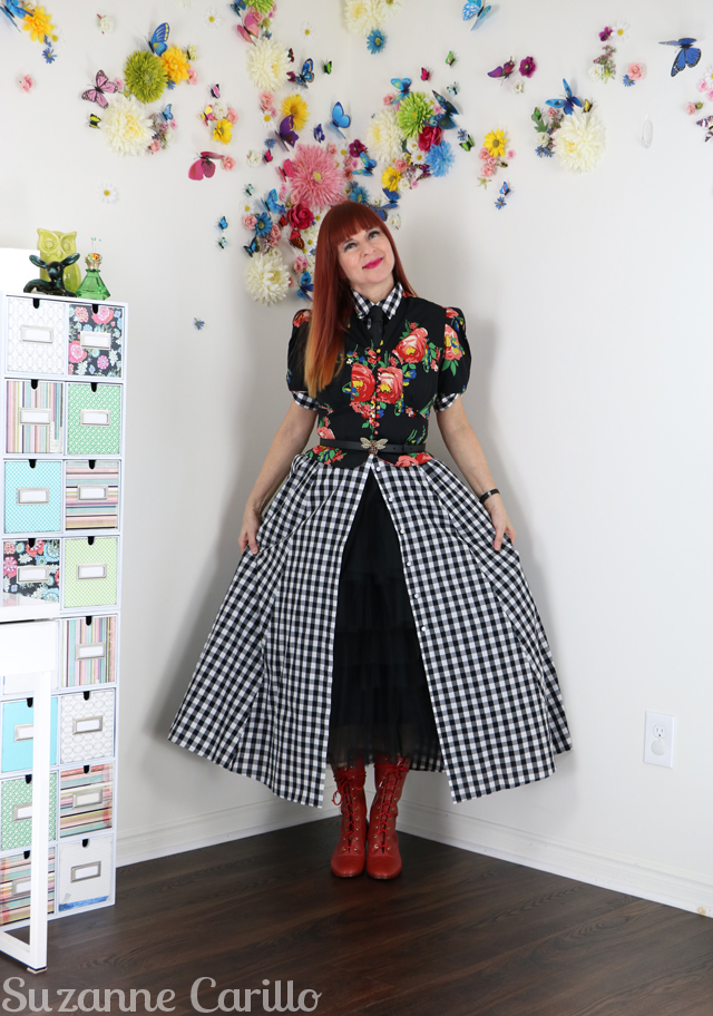 layered tulle skirt with button up dress suzanne carillo
