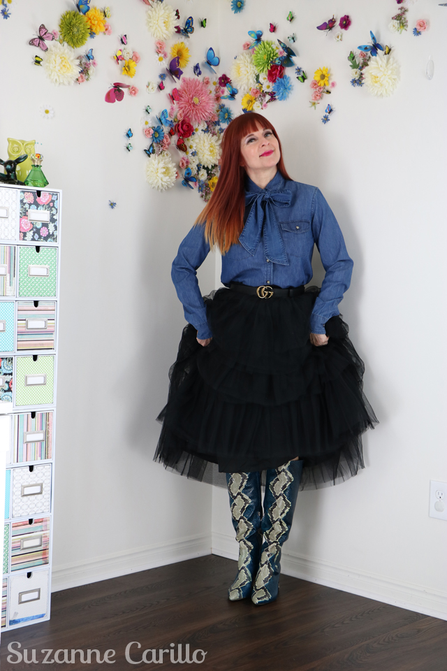 snakeskin boots and tulle skirt suzanne carillo