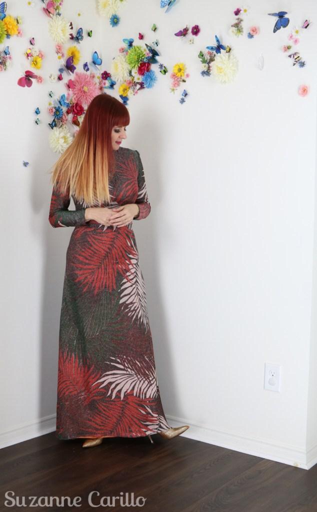 vintage lurex leaf maxi dress suzanne carillo style
