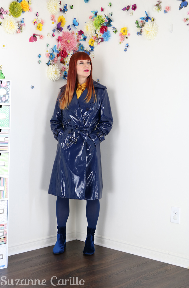vinyl blue raincoat suzanne carillo