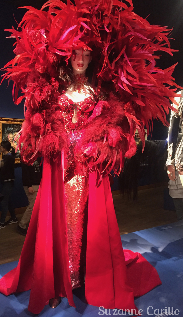 thierry mugler red feather dress