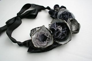 Grey velvet necklace 2 500
