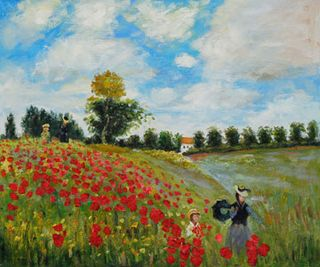 360 Poppy Field in Argenteuil Hand Painted Oil Painting by Claude Monet