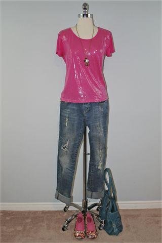 Pink sequins floral shoes