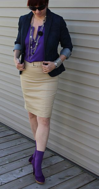 Purple shirt tan skirt jacket front 2