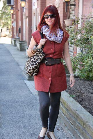 Orange jacket leggins scarf front