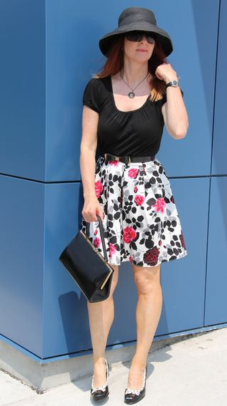 Pink black grey skirt black t-shirt