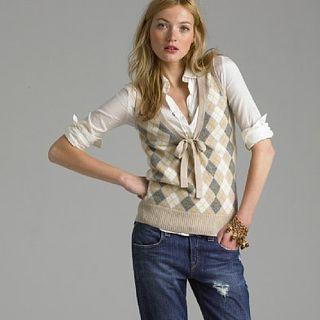 JCrew V-Neck Argyle Sweater
