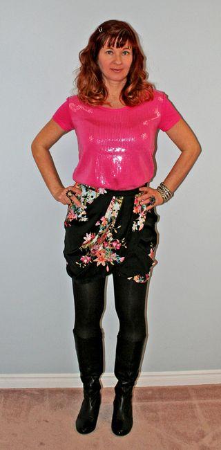 Pink_sequins_slit_skirt
