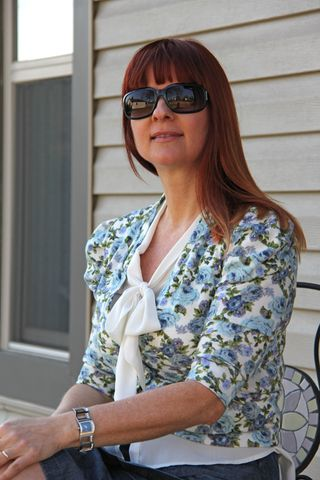 how to style vintage bow blouse with cardigan