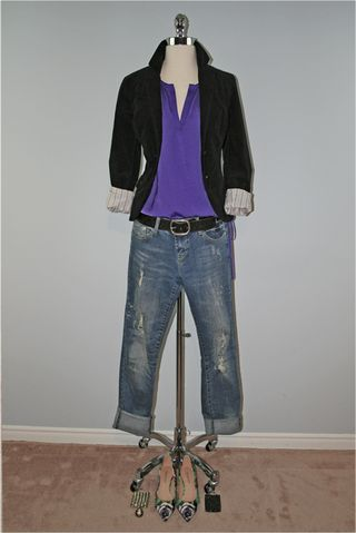 Purple shirt jacket form jeans