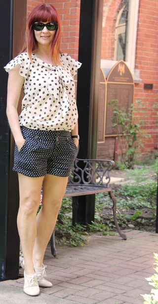 Anthropologie blue polk-a-dot shorts