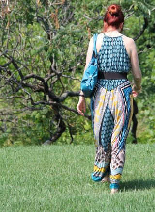 Back blue yellow black maxi dress