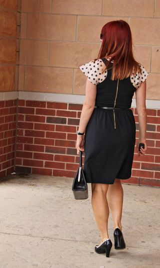 Black dress polk-a-dot blouse back