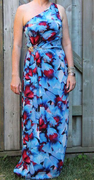 Blue red off shoulder long dress