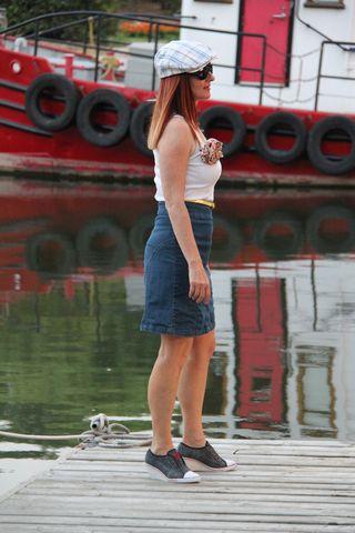Jean skirt white top