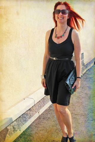 Cynthia rowley black dress coloured necklace