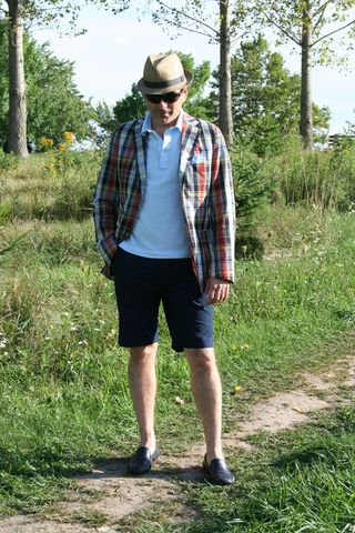 Robert plaid jacket with shorts