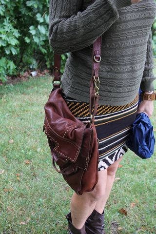 Lucky leather handbag brown