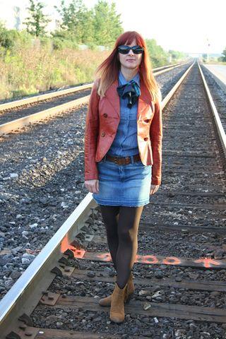 Rust leather jacket denim shirt tie