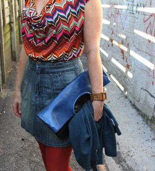 Chevron dress blue jean skirt