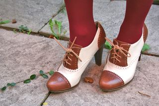 Two tone high heel brogue shoes