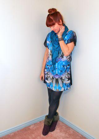 Blue purple sheath dress