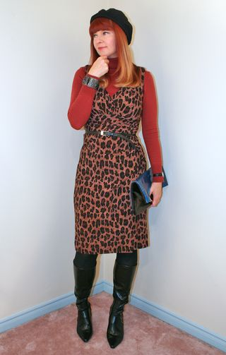 Leopard dress turtleneck sweater
