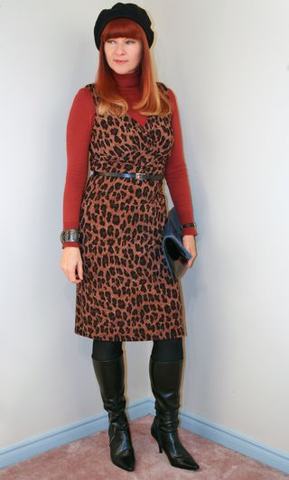 Rust turtleneck sweater leopard dress