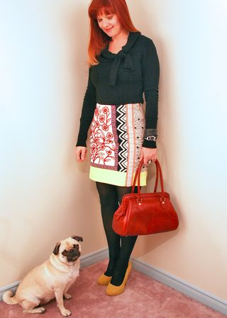Yellow red graphic anthropologie skirt