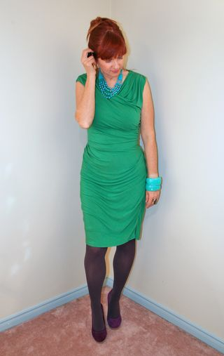 Green anthropologie dress with teal