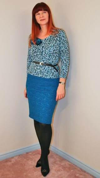 Leopard sweater blue anthro skirt