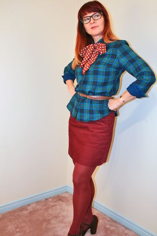 Plaid shirt polka dot bow
